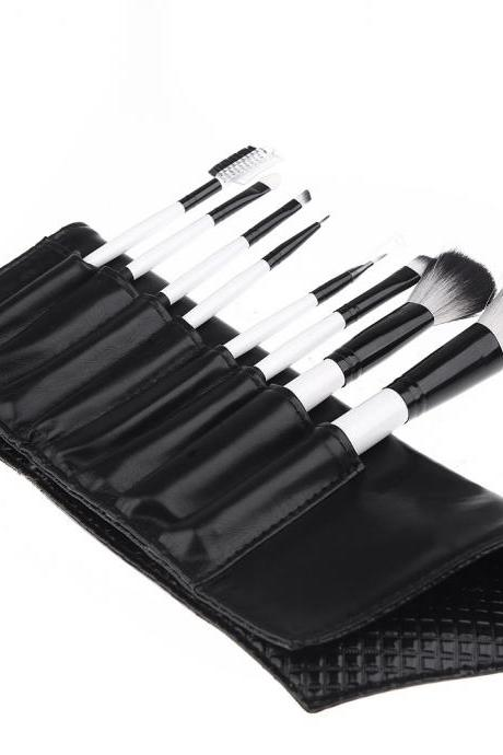 Professional 8PCS Makeup Brushes Set Cosmetic Brush Kit Make up Tool with Leather Bag (Color: Black)
