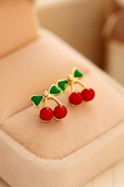 Fashion Cute Little Red Cherry Earrings sweet feel Earrings