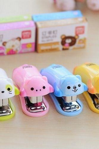 1 PCS Home Office Desk Mini Cartoon Stapler + Free 1000pcs Staples ~Random Color