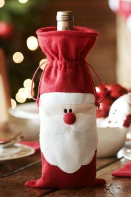 Hot Sale 1 Pcs Xmas Cute Lovely Santa Claus Wine Bottle Cover Party Dinner Table Christmas Decoration Xmas Decorations for Home Cristmas Gifts Navidad enfeites de natal Ornament