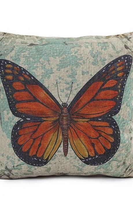 Butterfly Printed Linen Cotton Pillow Cover Cushion Cover Simple Style (Size: 170 g, Color: Multicolor)