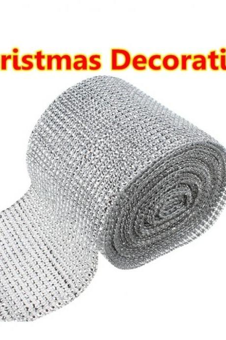 HOT SALE Fashion Merry Christmas Wedding Party Decoration 4.6'x 1 Yards Silver DIAMOND MESH christmas RHINESTONE Crystal Ribbon new year christmas ornament cristmas balls enfeites de natal