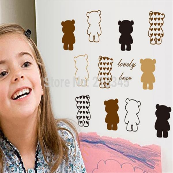lovely bear abstract art wall stickers refrigerator glass toilet cartoon kids decals waterproof removable (Color: Multicolor)
