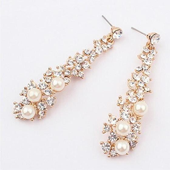 New Elegant Chic Women Lady's Pearl Rhinestone Dangle Chandelier Earrings Jewelry