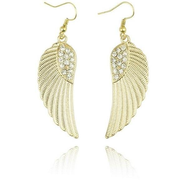 New Womens Rhinestone Angel Wings Earrings Drop Dangle