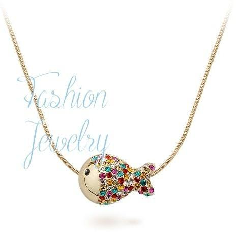 Top Quality Fish Multicolour Fashion Pendant / Necklace 18K Rose Gold Plated with Austrian Crystal