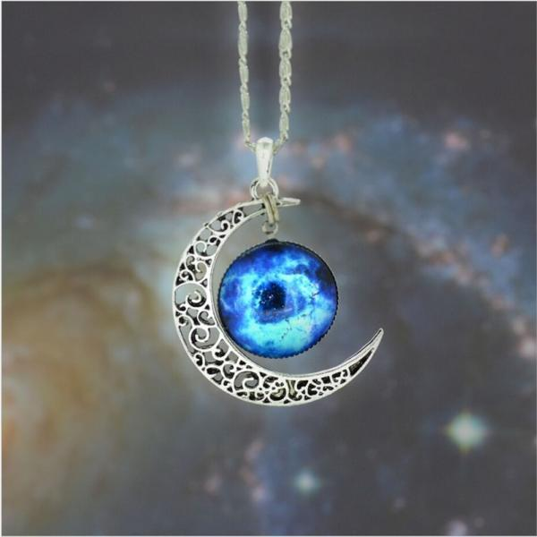 High Quality Silver Galaxy Cabochon Charm Moon Necklace Blue Nebula Galactic Cosmic Moon Necklace (Size 19; Color Silver)