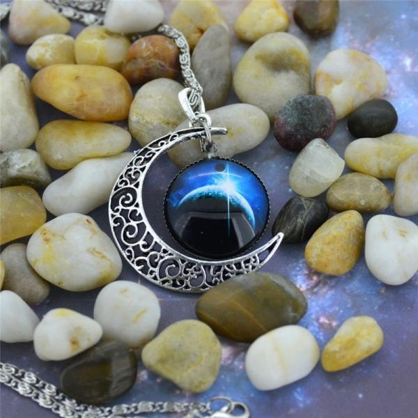 2015 Woman Fashion Silver Hollow Star Moon Eclipse Moon Necklace Charm jewelry (Size 19; Color Silver)