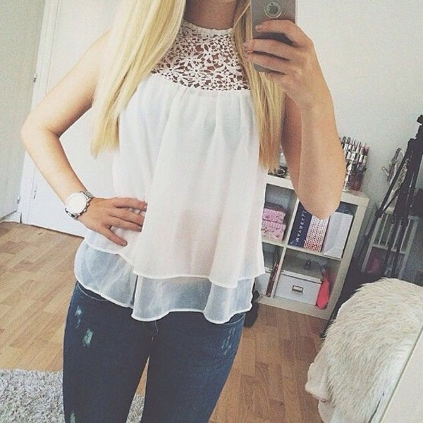 4ef5363c984 New Arrival 2015 Women Fashion Casual Sheer Sleeveless Lace Crochet Chiffon  Shirt Top Ladies White Blouse